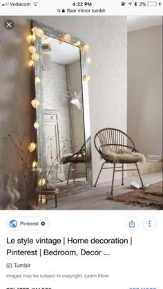 Deco Cool, Oversized Mirror, Small Homes, Furniture, Home Decor, Light Garland, Woodwind Instrument, House, Tiny Houses