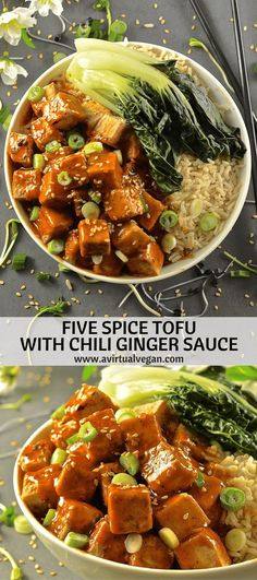 This Five Spice Tofu with Chili Ginger Sauce is so fast and easy to make. It's sweet, sticky & spicy with amazing depth of flavour. A perfect mid-week meal! via A Virtual Vegan Vegan Dinner Recipes, Veggie Recipes, Asian Recipes, Vegetarian Recipes, Cooking Recipes, Healthy Recipes, Cooking Tips, Tofu Dishes, Vegan Dishes