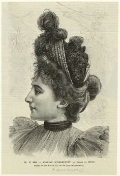 Victorian fashion plate. Portrait of a lady showing her hair updo and hat in profile. Ancient Greek inspired hair updo: psyche hair dot. Chapeau scaramouche. (1893)