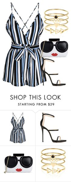 """""""Blue Black White Striped Romper with Black Sandal Heels and Gold Stacked Rings"""" by danihope on Polyvore featuring Glamorous, Giuseppe Zanotti, Alice + Olivia and Accessorize"""