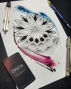 Martin Tattooer Zincik - Czech tattoo artist - Mandala dotwork watercolor tattoo design , Tetování Praha / Brno , #tattoo #mandala #tattooart