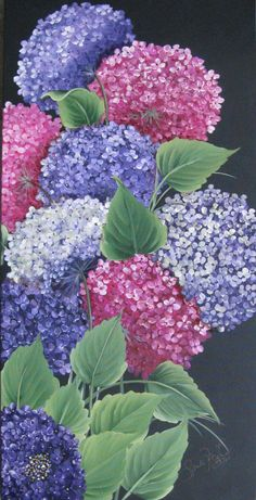 Hydrangeas on 24x48 in acrylic  Sandy McTier