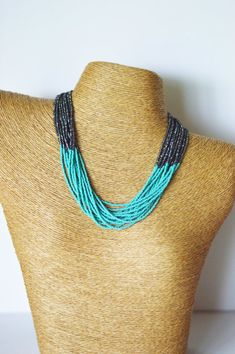 Hey, I found this really awesome Etsy listing at https://www.etsy.com/listing/197357819/turquoise-and-charcoal-necklaceteal-and
