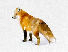 Fox Watercolor Painting Art Print  Animal watercolor black orange white brown Home Decor  Wall Decor Kitchen Decor Beach Decor