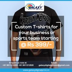 Start the Buzz, Using a ‪#‎CustomTShirts‬ to promote your company at an affordable price. Come get customized your T-shirt at ‪#‎GalaxyDigitalPrint‬. Enquire us at: galaxydigitalprintmr@gmail.com