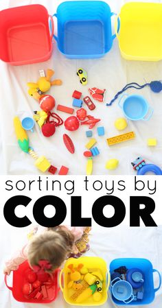 This Sorting Toys by Color Activity is perfect for toddlers! It reinforces color names while encouraging the cognitive development skill of sorting.