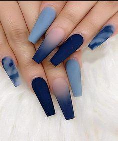 Acrylic Nails Coffin Short, Blue Acrylic Nails, Summer Acrylic Nails, Summer Nails, Acrylic Art, Blue Nails Art, Colourful Acrylic Nails, Blue Matte Nails, Coffin Nails Matte