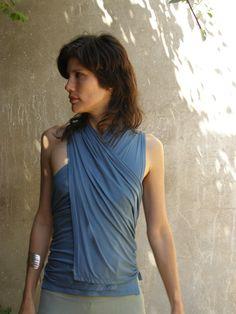 Summer wrap top The endless Triangular vest-Blue wrap por SHIHAR