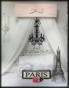 Bed Canopy BLUSH Pink Monique Teester Baby Girls nursery bedroom Use as curtain valance like one of the pics. Girl Nursery Bedding, Pink Bedding, Baby Bedroom, Girl Bedrooms, Paris Room Decor, Paris Theme, Princess Canopy Bed, Baby Girls, White Sheer Curtains
