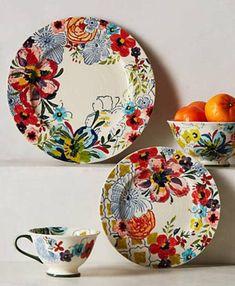 アンソロポロジー 美しい花柄4点セット お皿 マグ ボウル_画像1
