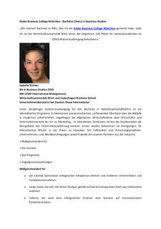 """Globe Business College München - Bachelor (Hons) in Business Studies """"Mit meinem Bachelor in BWL, den ich am Globe Business College München gemacht habe, habe ich an der Wirtschaftsuniversität Wien einen der begehrten 120 Plätze für Auslandsstudenten im CEMS-Masterstudiengang bekommen."""