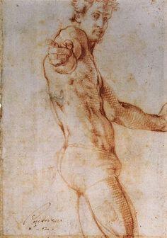 Jacopo Pontormo - Self-portrait, 1525 - British Museum, London Male Figure Drawing, Guy Drawing, Life Drawing, Drawing Sketches, Painting & Drawing, Drawings, Michelangelo, Self Portrait Drawing, Portrait Art