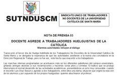 AREQUIPA. Trabajadores en huelga de la Universidad Católica de Santa María acusan agresión http://hbanoticias.com/6527