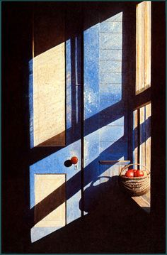 "Gary Akers - ""Borders Blue"" - love the contrasts. Through The Window, Chiaroscuro, Light And Shadow, Watercolor Paintings, Watercolors, Oeuvre D'art, Graphic, Contemporary Artists, Painting Inspiration"