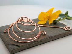 Yin Yang Spiral Hair Barrette Or Bun Cage Copper Medium