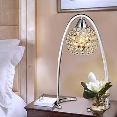 59.20$  Watch here - http://alinfk.worldwells.pw/go.php?t=32283096684 - new modern creative luxurious K9 crystal H 36cm silver led E14 adjustable table lamp living room bedroom bedside desk light 1556