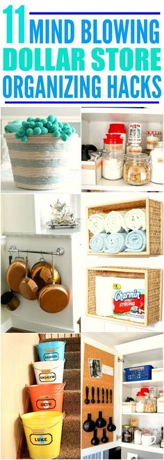 Dollar Store Hacks That Are SO Clever - These 11 life changing dollar store organizing hacks are THE BEST! I'm so glad I found these GREAT - Organisation Hacks, Organizing Hacks, Organizing Your Home, Kitchen Organization, Cleaning Hacks, Organization Store, Budget Organization, Roommate Organization, Kitchen Storage