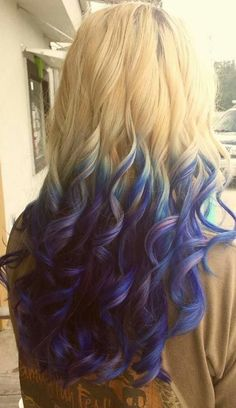 Ombre hair blue purple blonde (I'd like to do this next haircut, but with only about 2-3 of the ends being blue - Nyla)