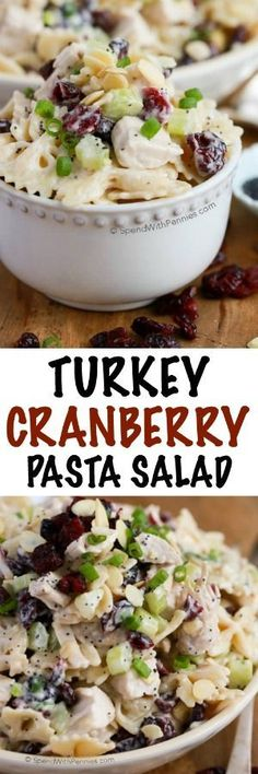 Cranberry Pasta Salad is loaded with my holiday favorite flavors. Juicy turkey, sweet tart cranberries, toasted almonds and crunchy celery are mixed with pasta tossed in an easy poppy seed dressing. This salad is the perfect way to enjoy leftover turkey. Thanksgiving Recipes, Fall Recipes, Great Recipes, Favorite Recipes, Leftover Turkey Recipes, Leftovers Recipes, Chicken Leftovers, Turkey Leftovers, Pasta Salad Recipes