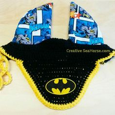 Batman Fly Ear Bonnet for horse or pony Check out this item in my Etsy shop https://www.etsy.com/listing/197064446/batman-fly-bonnet