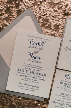 Beautiful Blush, Navy and Grey Romantic Wedding Invitations by Just Invite Me