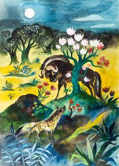 Jan Marcin Szancer - Bawół i hiena Book Illustrations, Photo Art, Cartoons, Artists, Gallery, Photos, Painting, Drawing S, Kunst