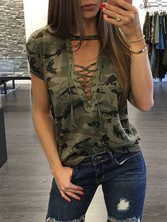 2017 T shirt Woman Sexy Top Casual Camouflage Choker V Neck Lace-up Shirts Summer Short Sleeve Bandage Tee Plus Size Femme Trend Fashion, Fashion Designer, Women's Summer Fashion, Look Fashion, Fashion Outfits, Fashion Tips, Fashion Women, Winter Fashion, Fashion Hacks