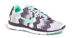 Teal and grey zig zag Nike sneakers
