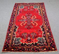 5.3′ X 10.0′ Shiraz persian area rug, vintage, oriental, Handmade, wool, candy red, pink, dark navy, purple, pink light green,  yellow