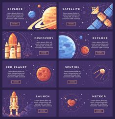 Space research banner set - Illustrations - 2 Graphic Design Posters, Graphic Design Inspiration, Web Design, Web Layout, Layout Design, Webdesign Layouts, Powerpoint Design Templates, Space Illustration, Presentation Layout