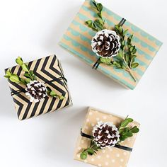 Reuse those leftover holiday craft supplies for simple, natural gift wrapping with these easy steps!