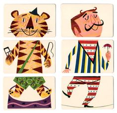 """Mixies  Ed-u-Card's 1956 """"Mixies"""" is a fun puzzle style card game where you piece together 3 cards to form a single circus figure or animal"""