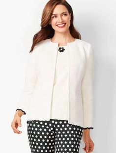 cc1ad65019466c Details This Scallop-Trim Tweed Jacket polishes any outfit. Add a tailored  pair of