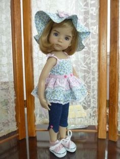 Dianna-Effner-13-Little-Darling-Doll-Outfit-Pink-Roses-made-by-Apple