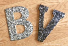 3D antiqued foil letter. So classy, you'd never guess it was made with aluminum foil, shoe polish, and Mod Podge. Super simple to do, too. Step-by-step tutorial.  whatchaworkinon.com