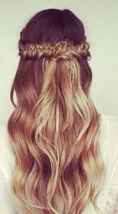 Omber wavy half up half down fishtail braid #gorgeoushair