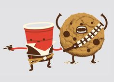 "Han ""Red"" Solo (Cup) & Chewey ""Chips Ahoy"" - i have this tshirt at home :D one of my favorits"