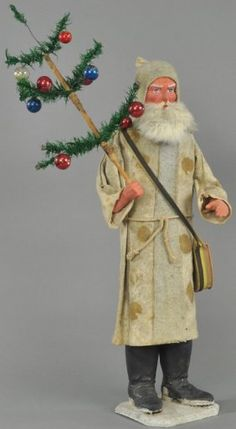 Germany, an impressive size, early St. Nick, white fur-like robe over cardboard tube body, heavy composition boots on. on Nov 2015 German Christmas, Antique Christmas, Father Christmas, Primitive Christmas, Christmas Candy, Christmas Wishes, Merry Christmas, Christmas Time, Vintage Candy