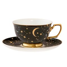 It's Written in the Stars Teacup & Saucer - Ebony & Gold, You can appreciate breakfast or different time periods applying tea cups. Tea cups likewise have decorative features. Once you look at the tea cup designs, you might find that clearly. Tea Cup Set, Tea Cup Saucer, Shabby Vintage, Vintage Tea, Marble Gold, Cute Mugs, Cute Tea Cups, Design Set, Mug Cup