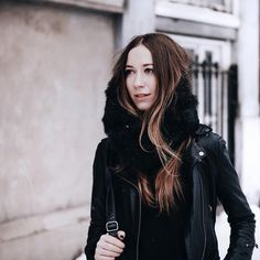fur muffler tuck, revealing pieces of a long hairstyle while still keeping most of the hair under wraps