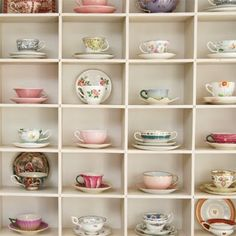 This would be perfect for me to display my lovely cups and saucers in. Shall now commence looking for a cubed storage that is just the right size for trios!