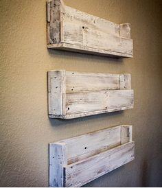 Reclaimed Wooden Shelves by LittleMonkeyBiz on Etsy, $25.00-- at entry/garage for mail ect
