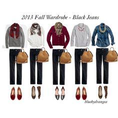 """Fall Wardrobe - Black Jeans"" by bluehydrangea on Polyvore"