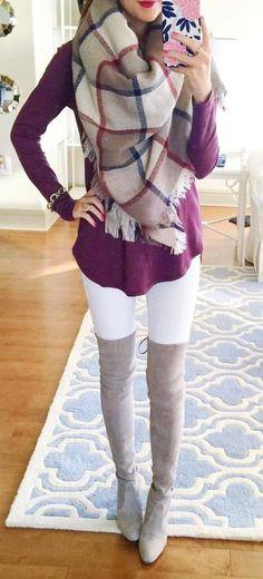 #winter #fashion / gray OTK boots + scarf