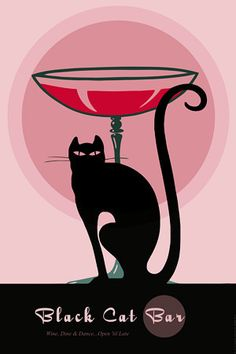 Black Cat Bar.  'Wine, Dine & Dance..'  http://www.vintagevenus.com.au/products/vintage_poster_print-d591