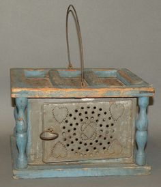 Blue painted wooden & tin foot warmer