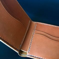 """2 Likes, 2 Comments - Handmade Leather Goods (@prleatherworks) on Instagram: """"A closer look at the @wickettandcraig tan bridle leather bifold. Hand stitched with @mainethread…"""""""