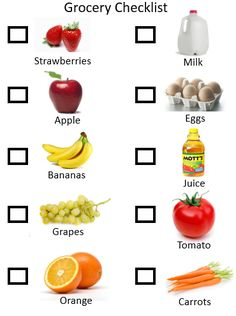 Let your toddler use this new toddler grocery checklist activity when you go shopping. Your toddler can check off items as you shop and can learn the words that go with typical items on a grocery l…