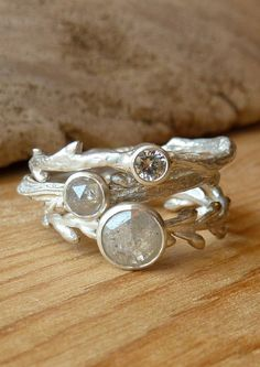 Etched in Nature Ring Set Opal Wreath