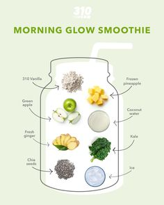 Glow from the inside out with this superfood packed smoothie with 19g of protein & 4g of healthy fats. Click here for the full recipe! Protein Shake Recipes, Protein Shakes, Smoothie Recipes, Drink Recipes, Yummy Drinks, Healthy Drinks, Frozen Pineapple, Health Vitamins, Super Greens
